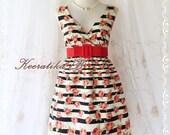 Last Piece SALE - Miss Floral - Stripes Floral Print Summer Dress V Neck Pale Red Roses Dress Bridesmaid Wedding Party Tea Dress