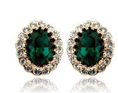 50% OFF SALE 18K Gold or Silver Plated Swarovski Emerald Green Earring / Angelina Jolie  Emerald Earrings