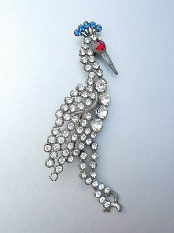"Vintage Art Deco  Silver tone Metal Rhinestones Bird Brooch Pin Large 4 1/4"" Peacock"