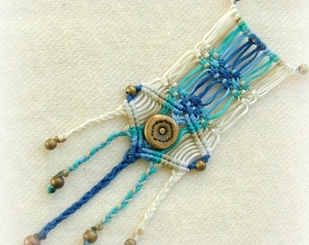 Eagle's call - natural style blue macrame necklace with beautiful beads
