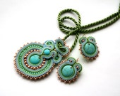 turquoise & spring green soutache set -  free shipping - necklace and earrings