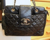 Reserved for Maria - Vintage Quilted Leather Bag with Gold Chain