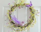 Easter Spring Wreath -BIRD & BUTTERFLY BERRY Wreath - Summer Wreath- Easter Wreath- Spring Decoration