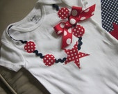 Fourth of July star necklace applique onesie