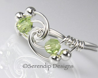 August Birthstone Ring, Argentium Sterling Silver Swarovski Peridot Crystal Wire Wrapped Ring, Crystal Twist Birthstone Ring