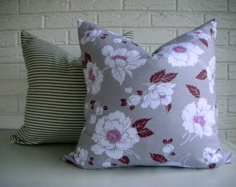 CLEARANCE Gray and Purple Floral Throw Pillow - White Flowers Pillow Cover - Cottage Chic Decor