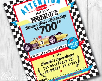 Race Car Party Invitations, Printable Custom Invitations by Cutie Putti Paperie
