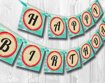 Retro Surf's Up Party, Surfer Party, Pool Party - PRINTABLE BIRTHDAY BANNER - Cutie Putti Paperie