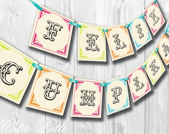 Vintage Fiesta Party, Mexican Party - PRINTABLE BIRTHDAY BANNER - Cutie Putti Paperie