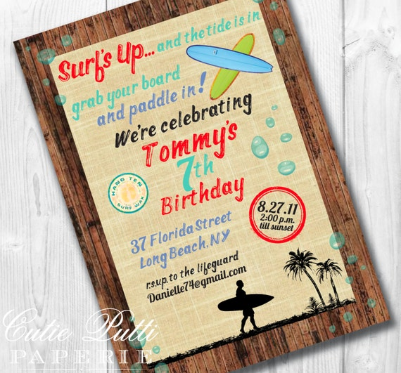 Pool Party Invitations, Printable Custom Invitations by Cutie Putti Paperie