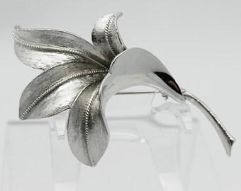 Vintage Coro Silvertone Flower Brooch