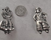 Vintage Margot de Taxco Sterling Dutch Boy and Girl Pins