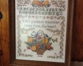 Sampler Embroidery Antique Wood Frame Life's Greatest Treasures Come from the Heart