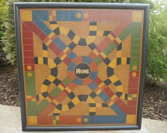 "19"", Parcheesi, Primitive, Folk Art, Wood, Game Board, Wooden, Game Board, Board Game"