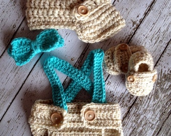 Little Man Suit in Wheat and Aqua Blue with Matching Diaper Cover, Suspenders and Bow Tie and Booties Available in 3 Sizes- MADE TO ORDER
