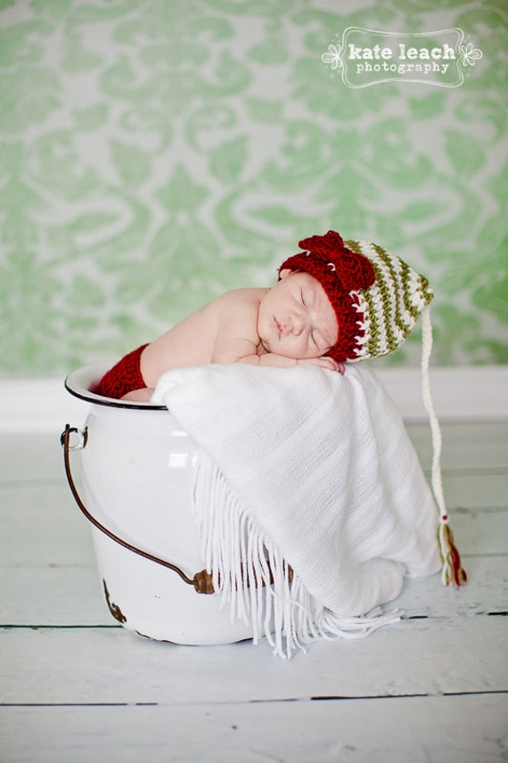 Santa's Little Helper Beanie and Diaper Cover in Cranberry, Ecru and Olive Green Available in Newborn to 12 Months- MADE TO ORDER