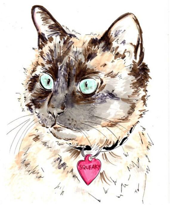 Custom Cat Portrait - 8 x 11 inch custom portrait