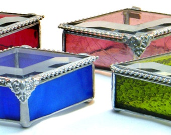 Set of 4, Stained Glass Jewelry Box, Bridesmaids Gift Set, Bridal Party Gifts, Bridal Attendant Gift Set, Bridesmaid Gift Ideas