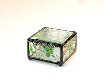 "Glass Box, Woodland Inspired Stained Glass Jewelry Box Measuring 3 x 3"", Green and Black, Keepsake Box, Bridal Attendant Gift"