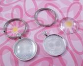 Round Key Chain Kit  Includes Pendant Trays Glass Cabochons Flat Split Key Rings - 100 pcs