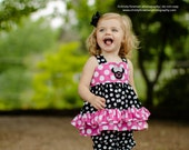 NEW.. Pink and Black Minnie Mouse Ruffle Top and Capris... PERFECT for Birthday.. Size 6m-6Y