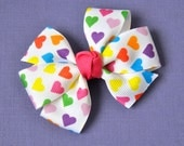 Rainbow Hearts Hair Bow