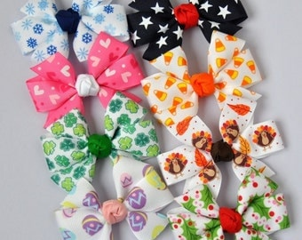 Holiday Hair Bows - Collection of 8 Medium Size Bows