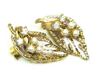 Vintage Leaf Earrings Signed BSK , Faux Pearl and Rhinestone Earrings
