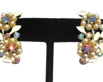 Gorgeous Kramer Earrings, AB Rhinestones, Faux Pearls and Enamel Leaves, Collectible