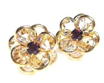 Estate Vintage SWAROVSKI Crystal Clear Bezel Stones with a single Purple Rhinestone Gold Plated Flashy, Sparkly, Glitz,