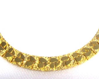 Vintage Gold Plated Chain Choker, Necklace with Hearts