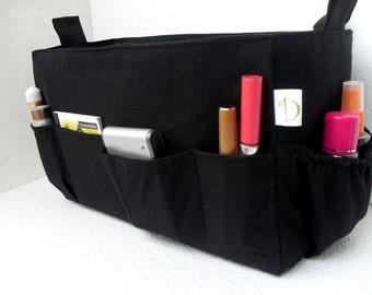 Purse insert- Diaper Bag organizer in Black solid fabric