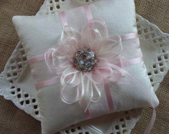 Wedding Ring Bearer Pillow - Organza Flower on Ivory Crinkled Tafetta