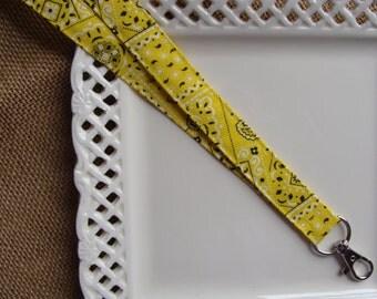 Fabric Lanyard ID -  Yellow Bandana