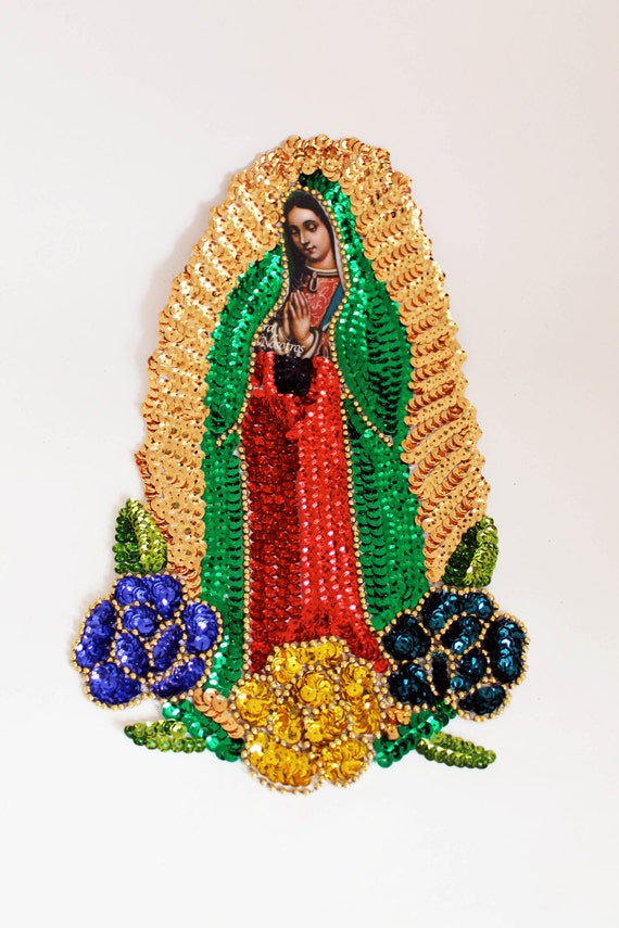 Sequin guadalupe applique extra large 3 flower virgin mary for Our lady of guadalupe arts and crafts