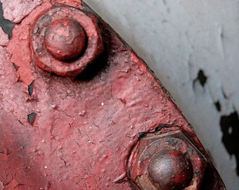 Red bolts, detail, industrial, mechanical, black, rough, white, curve, dirty, 8x10, photograph
