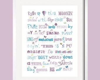 Three Little Birds  Print Song Quote in purple, blue and green for Brooklyn bedding 11x14 by YassisPlace, Many Colors