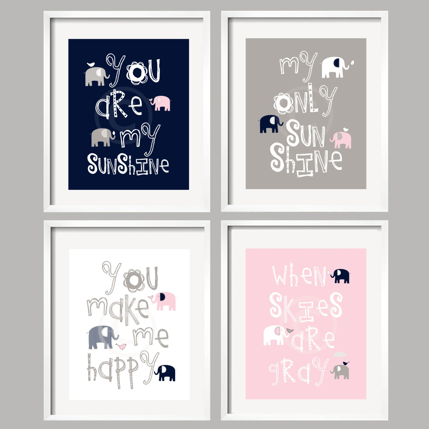 Pink Navy And Gray Nursery Decor Prints You Are My Sunshine