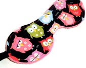 Night Owl Sleep Mask - Black, White,Green, Red, Blue, Pink, Minky, Owl, Eye Mask