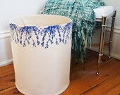 Extra Large Organic Cotton Canvas Storage Basket /Hand Printed Blue Cascade Flowers/Raw Cotton Lining/ Made To Order