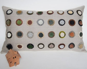 """Earth Tones Wool Circles Organic Linen Pillow Cover/ 12""""x20""""/ Vintage Wool/ OOAK/ Made To Order"""