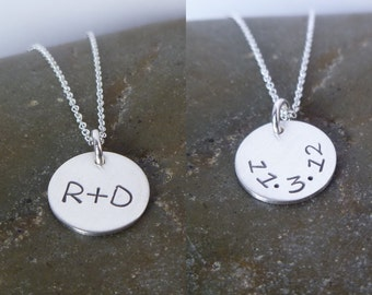 """Initial Necklace - Half Inch 1/2"""" Double Sided Sterling Silver Disc - Couple - Date on Back - Initial Plus Initial - Wedding Gift"""