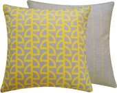 Yellow Gray Cushion Throw Pillow • Geometric • Home Decor • 18x18 Decor Pillow • Contemporary • Pillows for Sofa • Bedding • Havana Banana