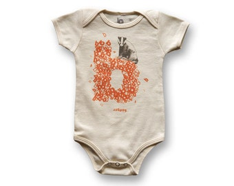 "Personalized ""B"" for Badger - Organic Baby Bodysuit"
