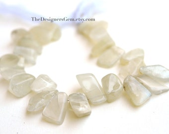 Large Natural Off White Moonstone Rough Cut Chips Top Drilled Smooth Polish 14 to 20mm - 1/2 Strand