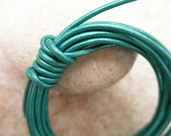 By the Yard - 1mm - Leather Cord Round - Tropical Water