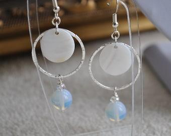 Circle, shell and semi precious stone dangle drop earrings