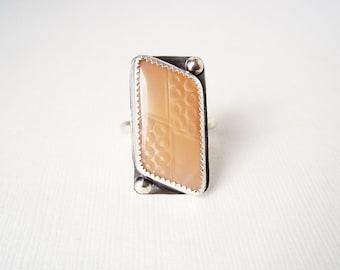 Unique Jewelry. Geometric Glass in Sterling Silver. Repurposed Jewelry. Size 7