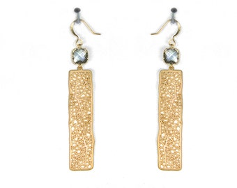 GATSBY . Bar earrings Filigree jewelry. Abstract organic design 1930s,  leaf vein earrings with square crystal.
