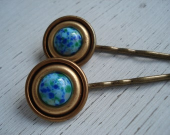 Vintage Art Deco Turquoise and Lapis Glass in Gold Bobby Pins 1920's Hair Clips